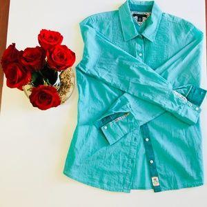 Tommy Hilfiger Womens Shirt Blue Floral Trim